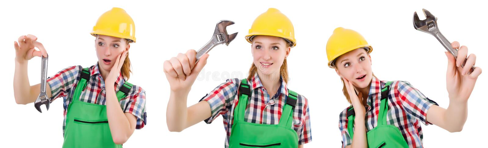 The constructon worker female with wrench isolated on white. Constructon worker female with wrench isolated on white stock image