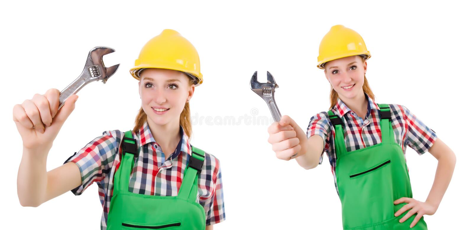 The constructon worker female with wrench isolated on white. Constructon worker female with wrench isolated on white stock images