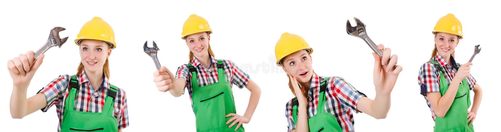 Constructon worker female with wrench isolated on white. The constructon worker female with wrench isolated on white stock photo