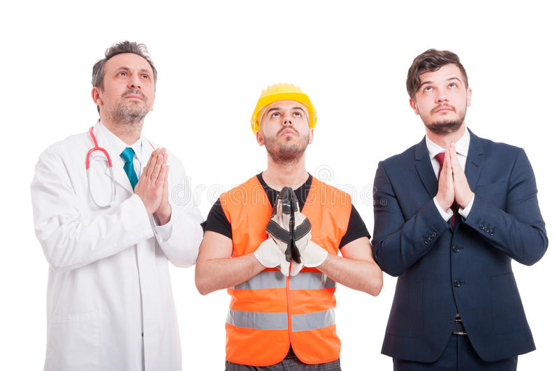 Constructor, abogado profesional y doctor buscando esperanza foto de archivo libre de regalías