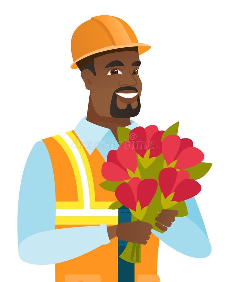 Constructor afroamericano joven con el ramo ilustración del vector