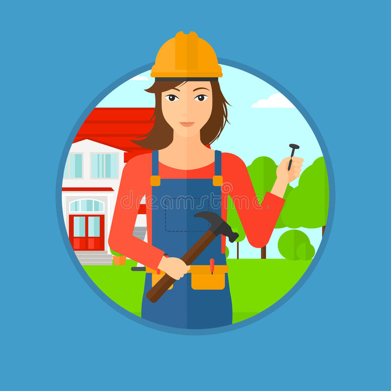 Constructor alegre con el martillo stock de ilustración