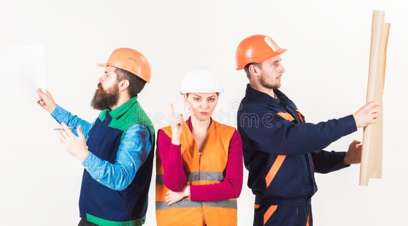 Constructor, arquitecto, reparador que busca a la manitas Concepto de alquiler de los trabajadores foto de archivo libre de regalías