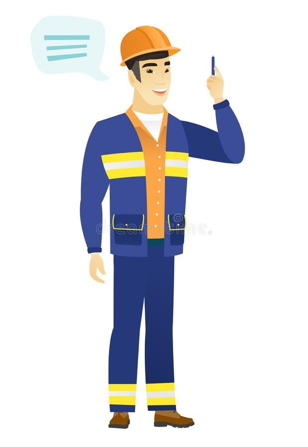 Constructor asiático joven con la burbuja del discurso stock de ilustración