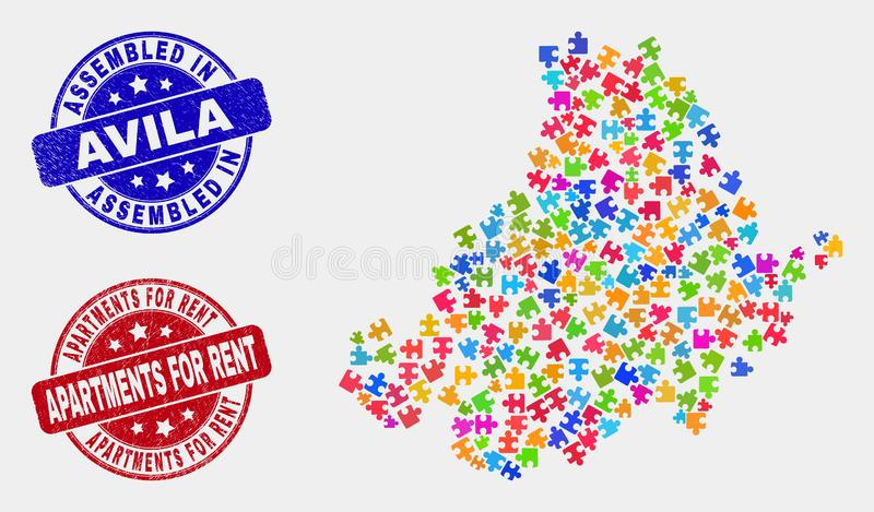 Bundle Avila Province Map and Distress Assembled and Apartments for Rent Stamps. Constructor Avila Province map and blue Assembled seal stamp, and Apartments for vector illustration