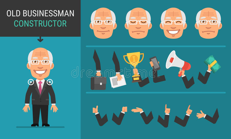 Constructor Character Old Businessman. Vector Illustration. Mascot Character stock illustration