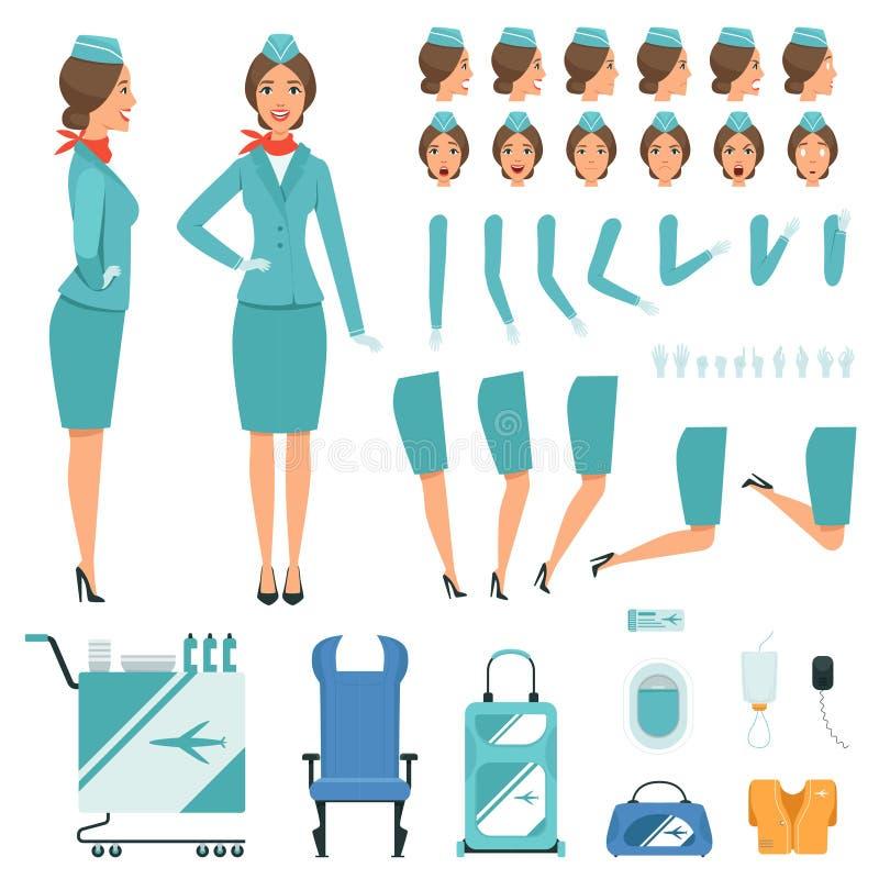 Constructor characters of Stewardess. Vector mascot creation kit stock illustration
