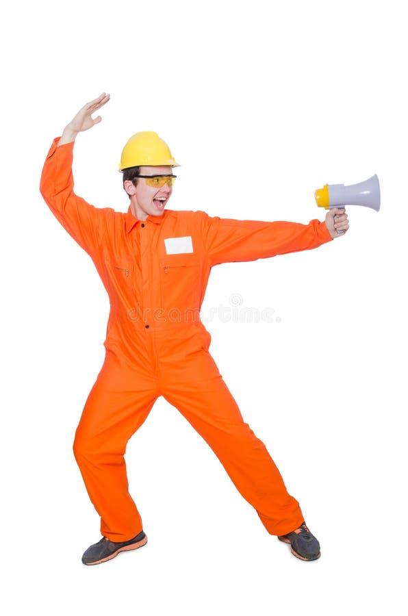 Download Constructor Con El Altavoz Aislado Foto de archivo - Imagen de anunciación, claxon: 41913800