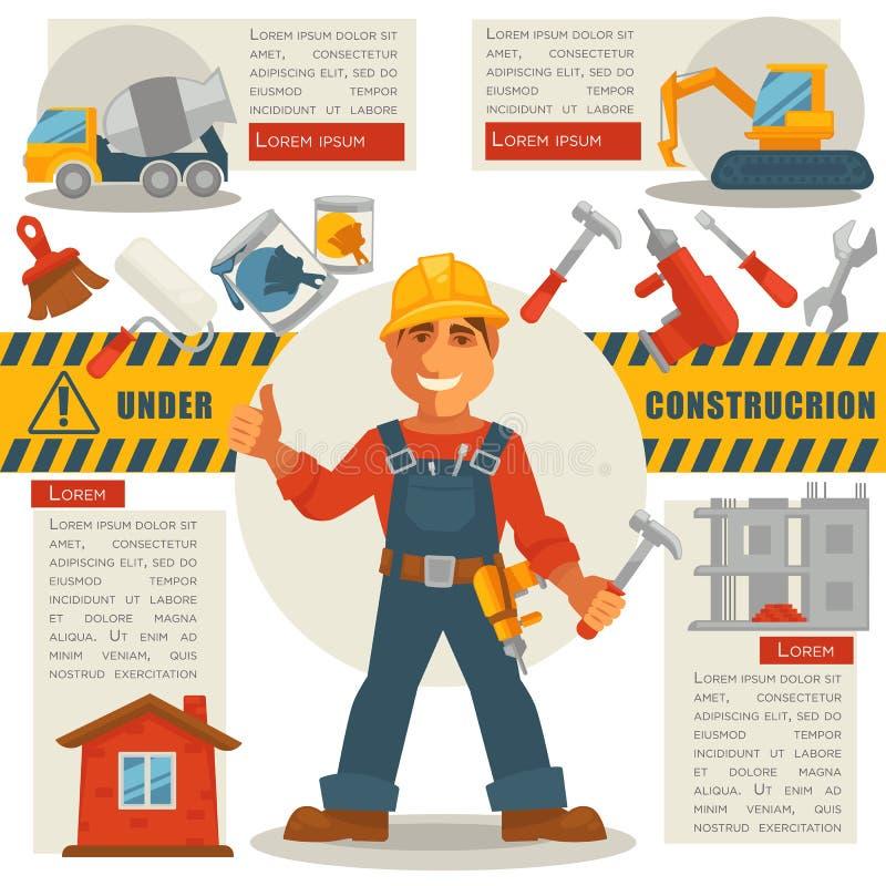 Constructor con el martillo y bajo muestra de la construcción ilustración del vector