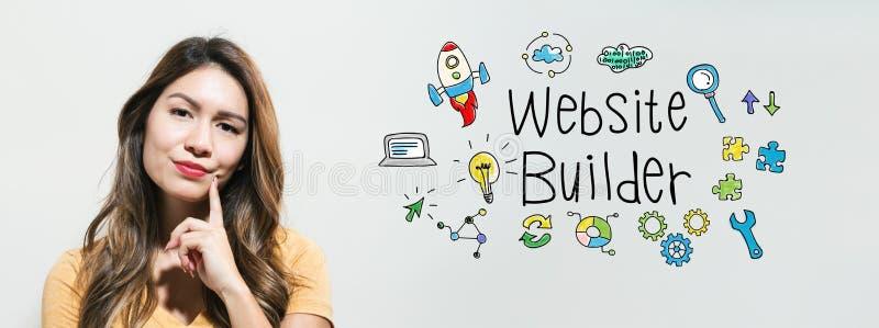 Constructor de la página web con la mujer joven fotografía de archivo