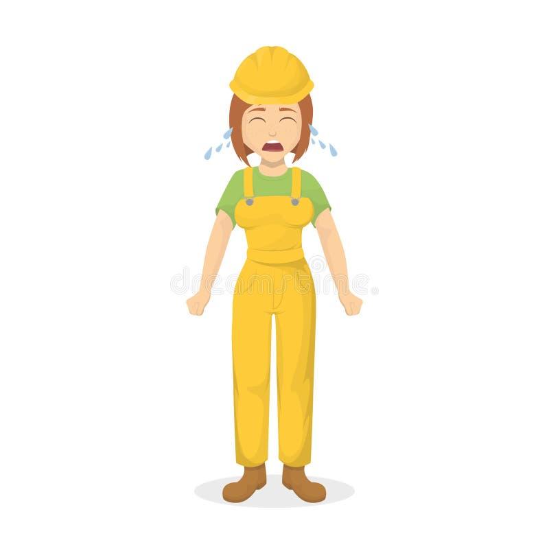 Constructor de sexo femenino gritador ilustración del vector