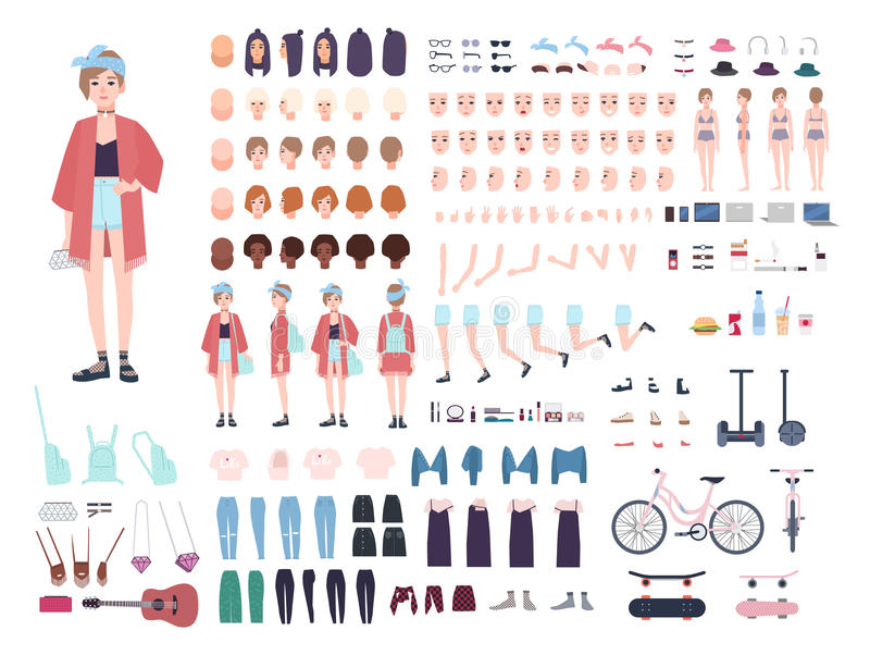Constructor del carácter del adolescente Sistema de moda joven de la creación de la muchacha Diversas posturas, peinado, cara, pi stock de ilustración