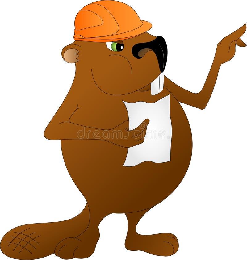 Constructor del castor en casco anaranjado ilustración del vector