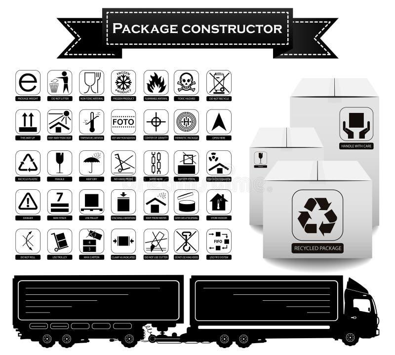 Constructor del paquete símbolos de empaquetado Sistema del icono Ilustración del vector libre illustration