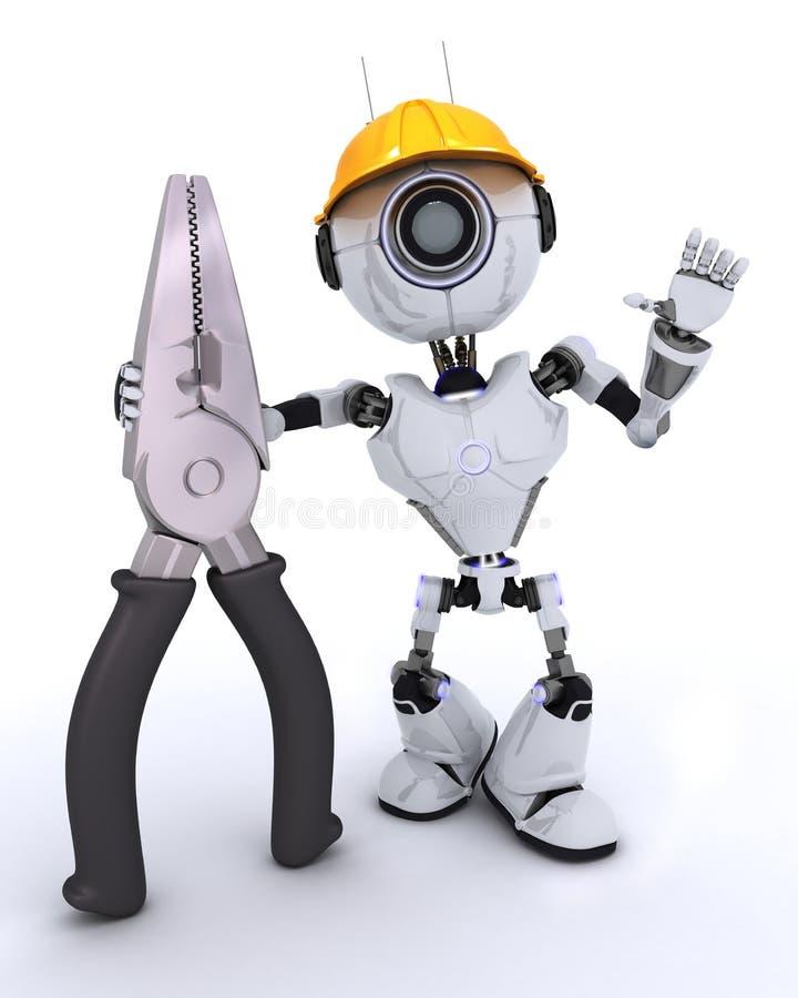 Constructor del robot con los alicates stock de ilustración