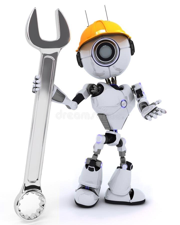 Constructor del robot con una llave ilustración del vector