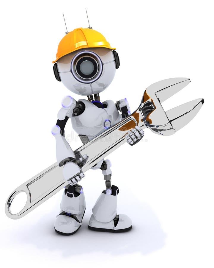 Constructor del robot con una llave stock de ilustración