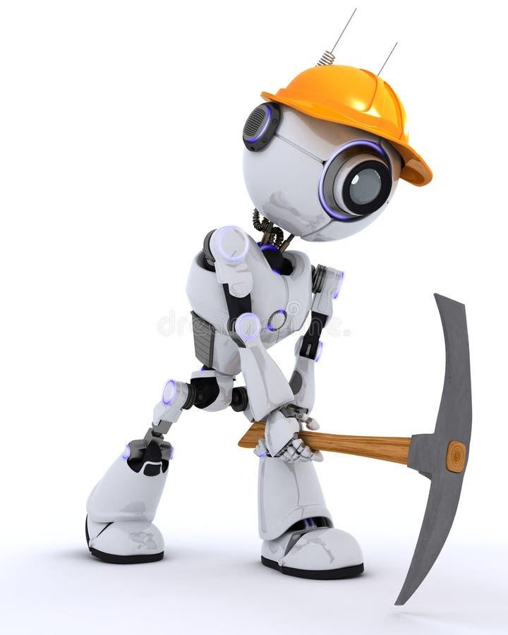 Constructor del robot con una piqueta stock de ilustración