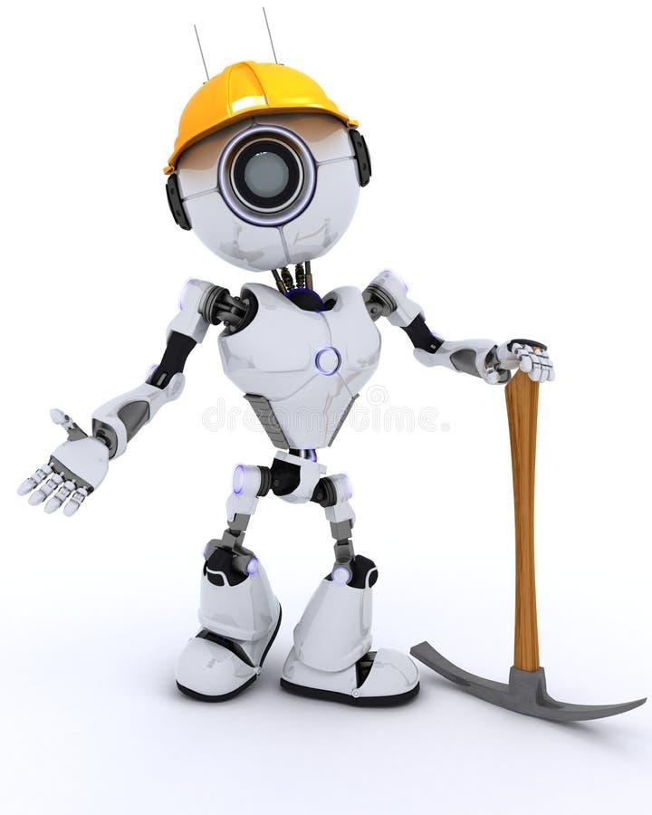 Constructor del robot con una piqueta ilustración del vector