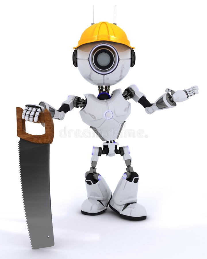 Constructor del robot con una sierra stock de ilustración