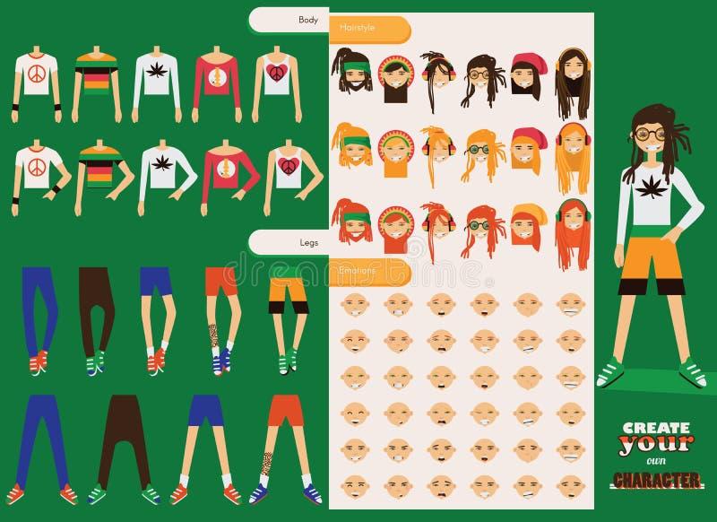 Constructor del vector del carácter rastafarian de los hombres Las partes del cuerpo masculinas de repuesto en diversa ropa, dive libre illustration