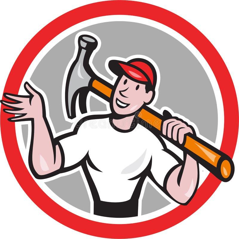 Constructor Hammer Circle Cartoon del carpintero libre illustration