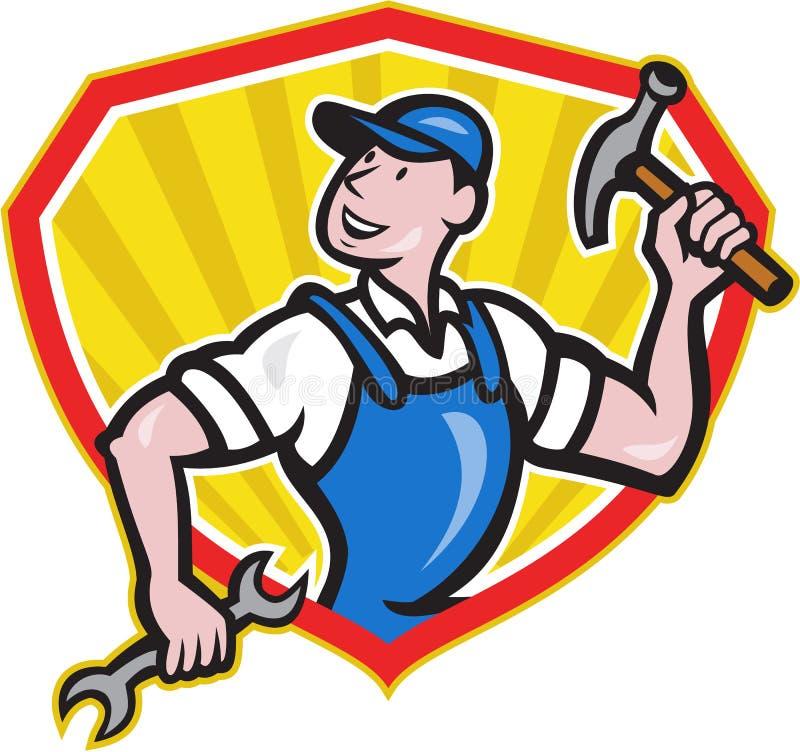 Constructor Hammer Spanner Cartoon del carpintero stock de ilustración