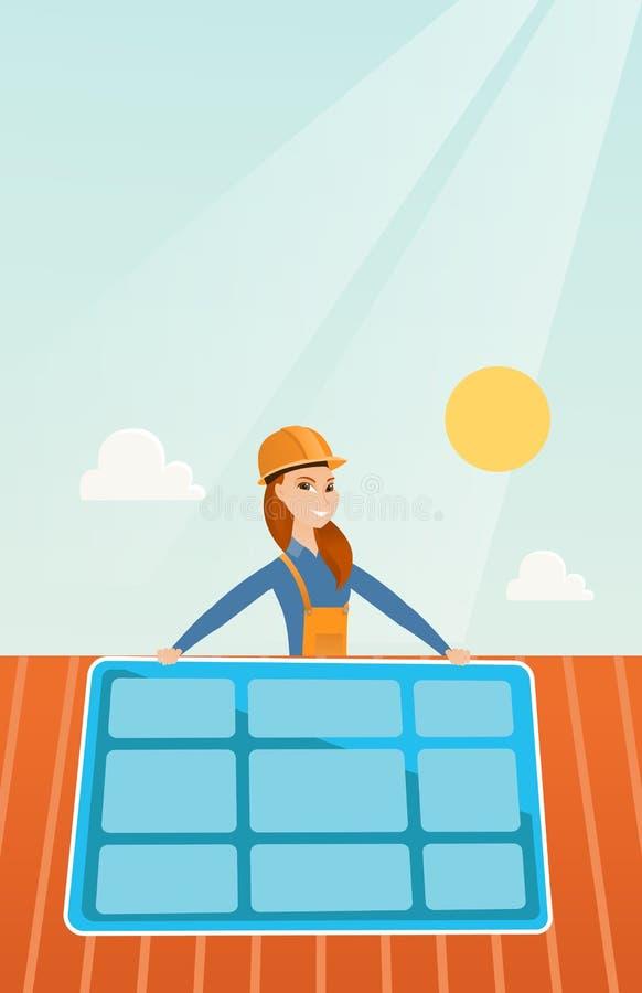 Cartoon Roofing Installation : Constructor installing solar panel stock vector