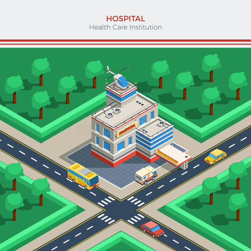 Constructor isométrico de la ciudad con el edificio del hospital stock de ilustración