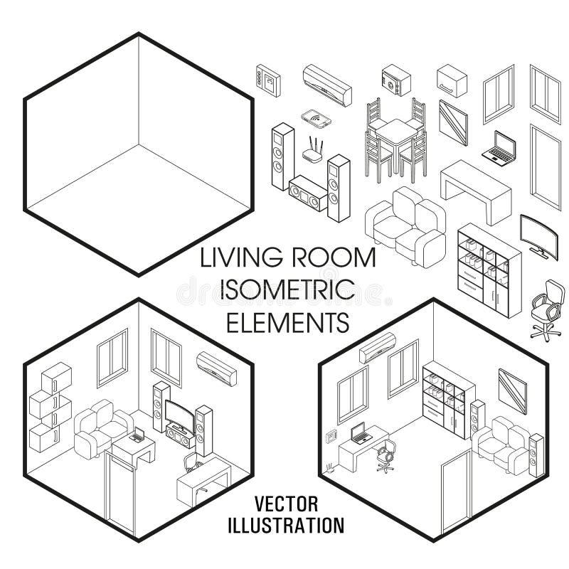 Constructor isométrico del interior de la sala de estar Sistema del vector de elementos isométricos de los muebles del interior c stock de ilustración