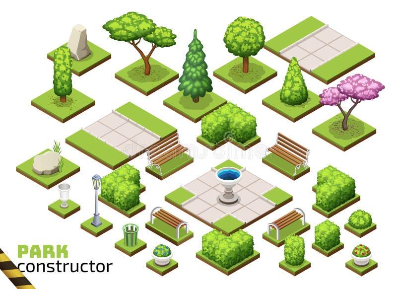 Constructor isométrico del parque stock de ilustración