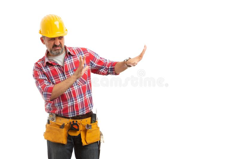 Constructor making stay away gesture stock images