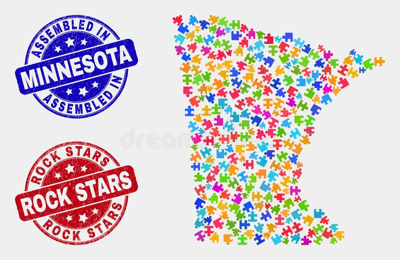Bundle Minnesota State Map and Distress Assembled and Rock Stars Stamps vector illustration