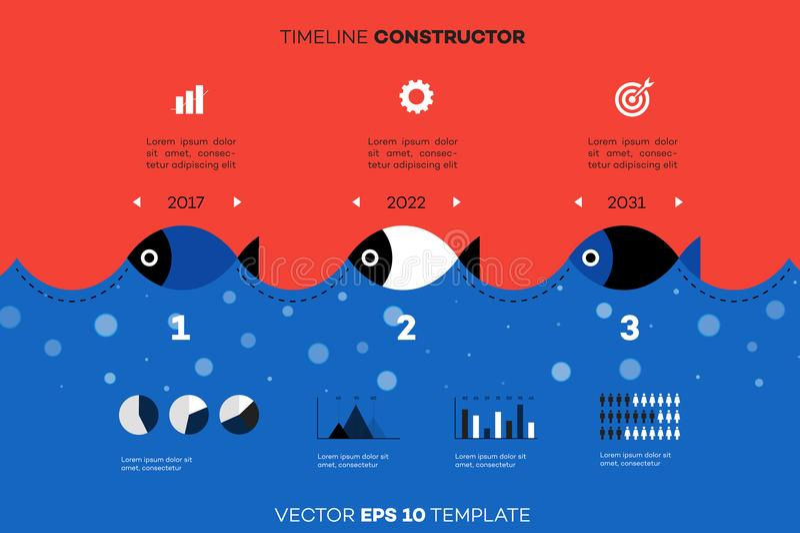 Constructor moderno de la cronología de Infographic para la industria pesquera  Fondo conceptual del vector Modelo para el asunto stock de ilustración