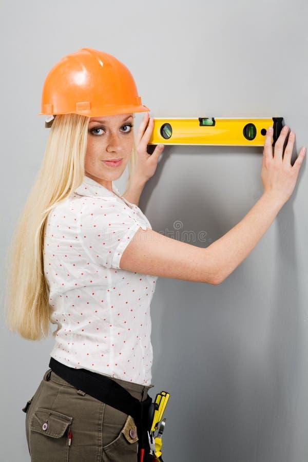 Constructor-mujer foto de archivo libre de regalías