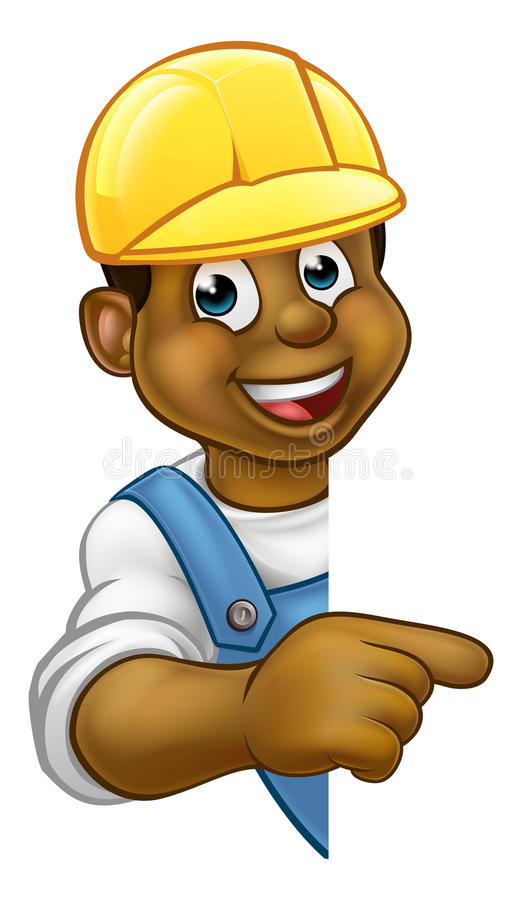 Constructor negro Contractor Pointing libre illustration