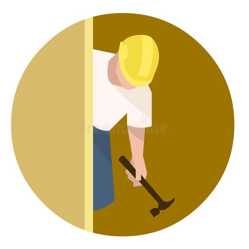Constructor o carpintero con el martillo que hace la renovación de la casa stock de ilustración