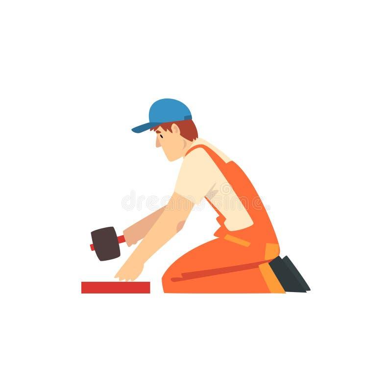 Constructor profesional con el mazo de goma, carácter masculino del trabajador de construcción en guardapolvos anaranjados y casq ilustración del vector