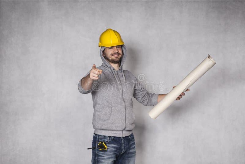 Constructor que señala en usted imagen de archivo libre de regalías