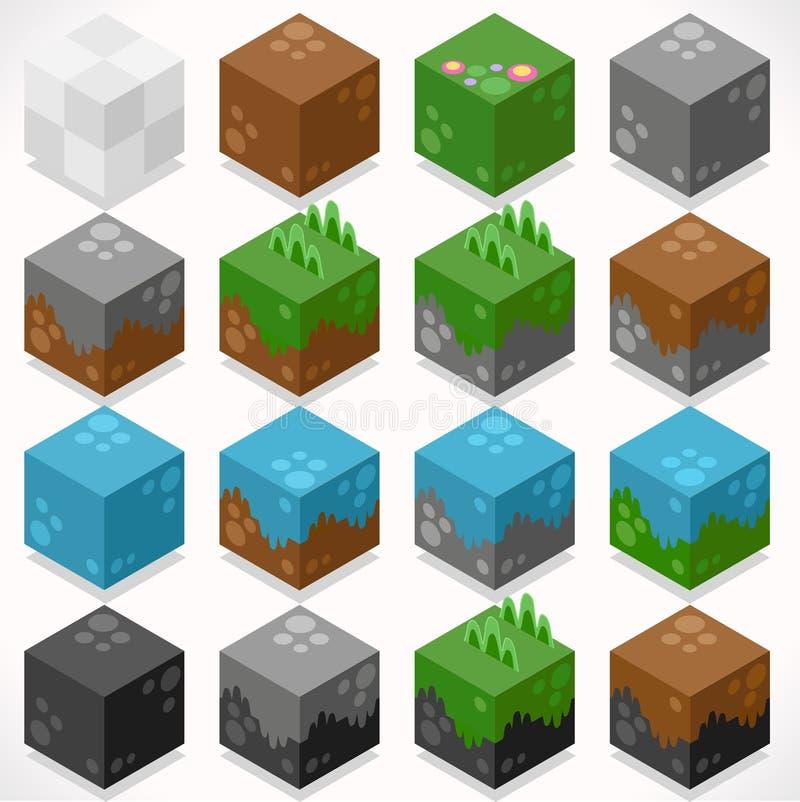 Constructor texturizado Craft Kit de los elementos de la mina de los cubos libre illustration