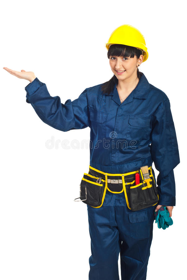 Download Constructor Worker Female Presentation Stock Image - Image of palm, hand: 19108429