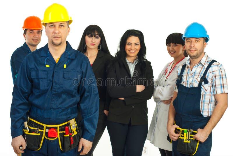 Constructorarbetare och olika folkjobb arkivfoton