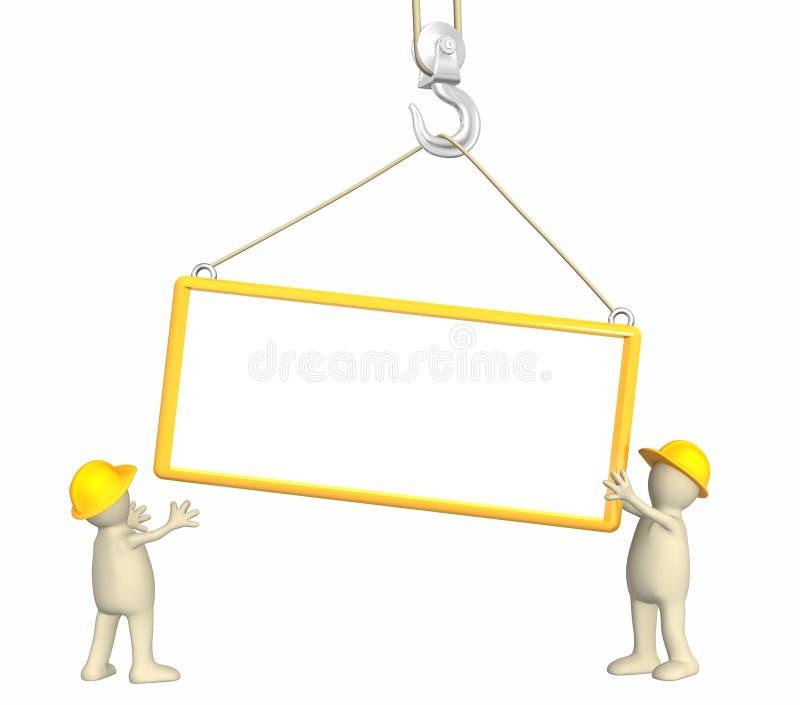 constructores 3d, bajando un marco en un gancho de leva stock de ilustración