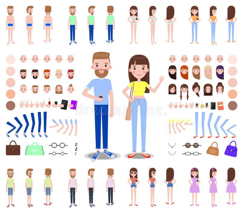 Constructores modernos de los caracteres masculinos y femeninos libre illustration