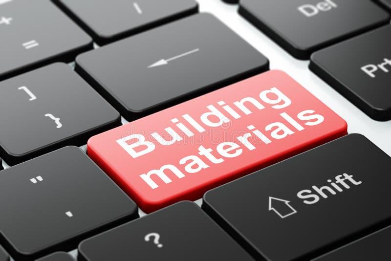 Construindo o conceito: Materiais de construção no fundo do teclado de computador ilustração royalty free
