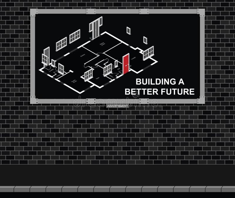 Construindo uma placa de propaganda futura melhor ilustração stock