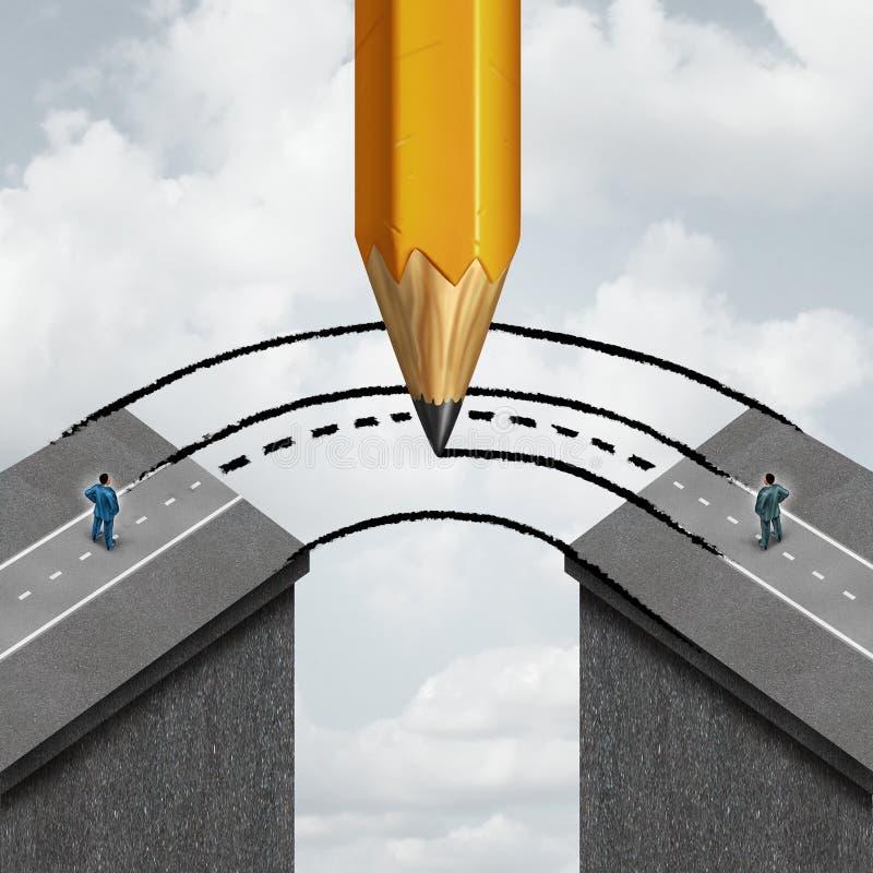 Construindo uma ponte sobre a abertura ilustração do vetor