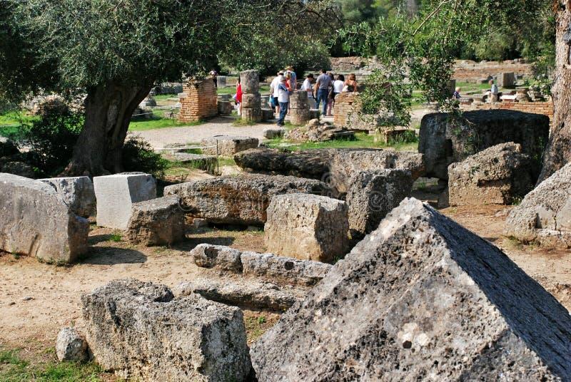Construir permanece no local arqueológico da Olympia antiga em Grécia foto de stock royalty free