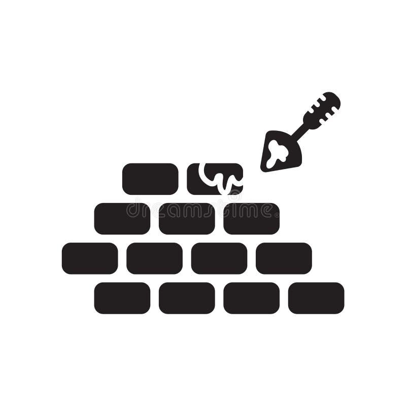 Construisant un vecteur d'icône de mur de briques d'isolement sur le backgrou blanc illustration de vecteur