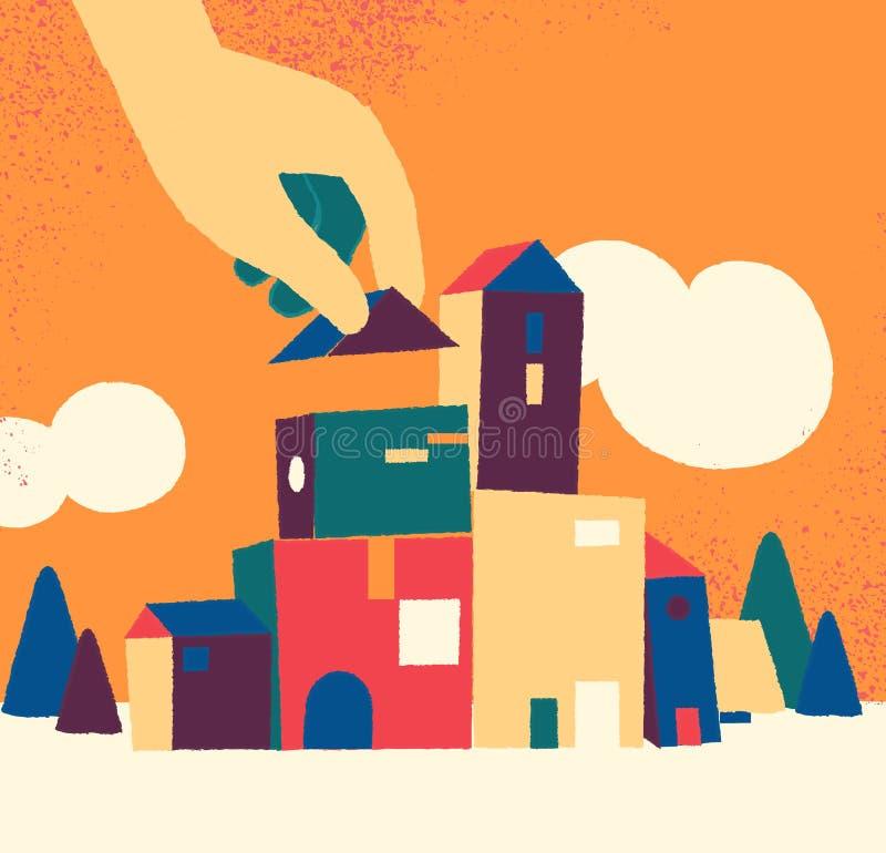 Construisant urbain, peu de ville en construction illustration de vecteur